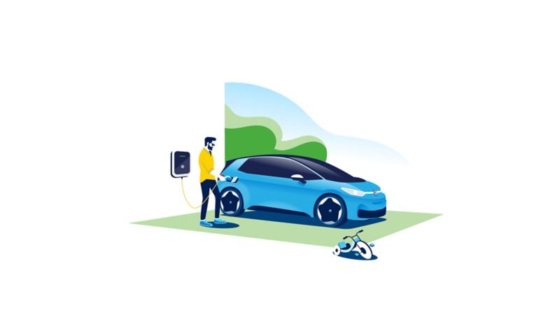 Illustration of a man plugging in his ID.3 using the ID. Charger at home.