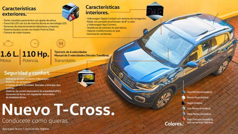 Características exteriores e interiores de T-Cross, la camioneta ideal para ciudad de Volkswagen México