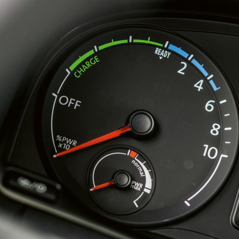 Instrumentpanelen i en elbil från VW Transportbilar