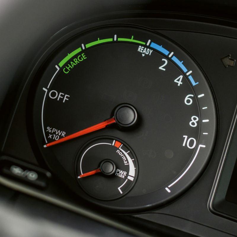 L'indicatore del livello di carica della batteria di ABT e-Caddy.