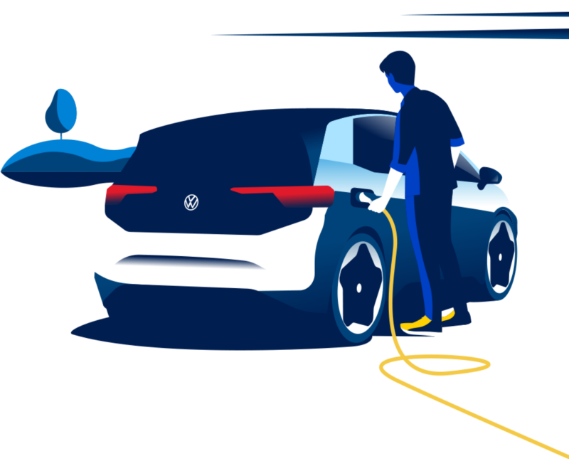 Illustration of a man plugging in his ID.3 to charge