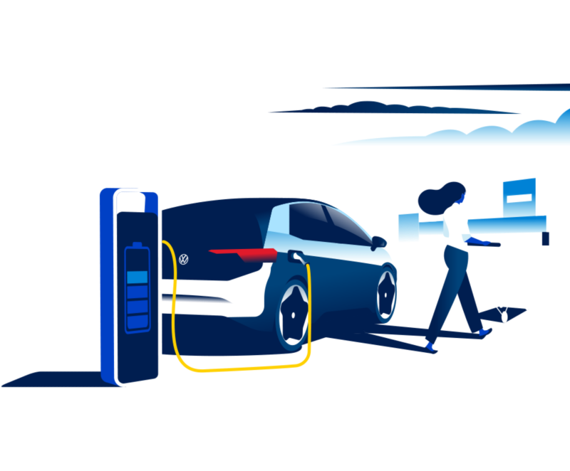 Illustration of an ID.3 at a charging station in a retail carpark.
