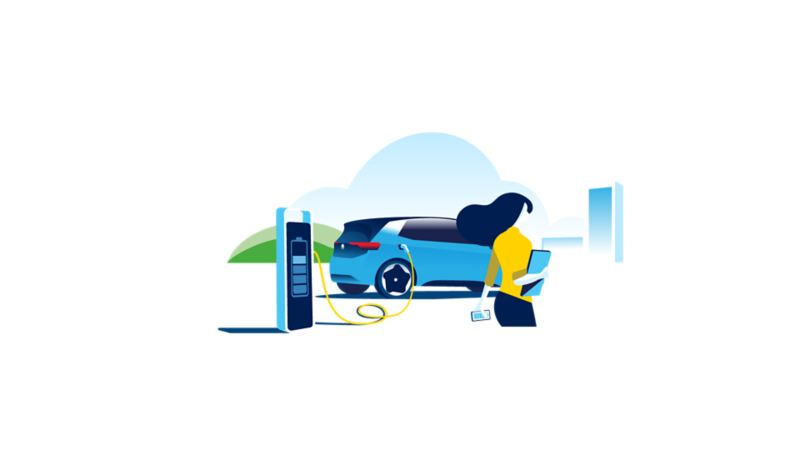 Illustration of an ID.3 being charged at an office charging station as a business woman walks past