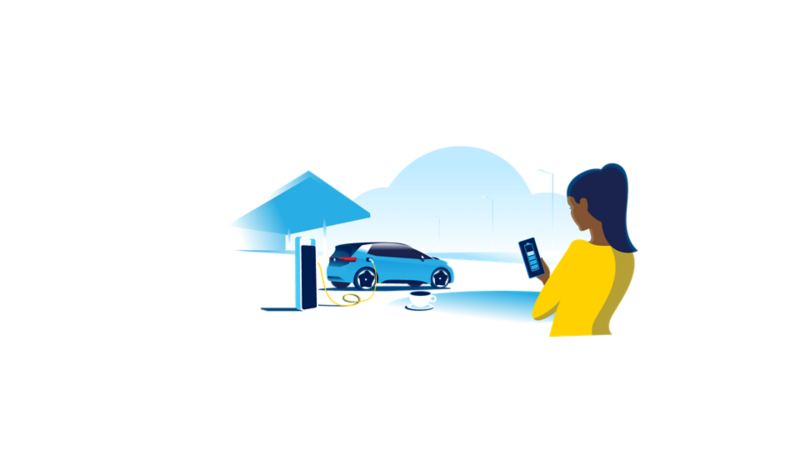 Illustration of an ID.3 being charged at a motorway services charging station