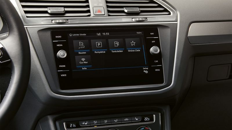Close view of a VW navigation system