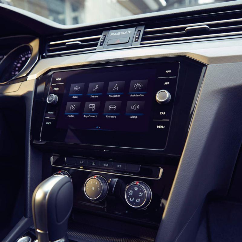 Inside a Volkswagen vehicle touchscreen pad