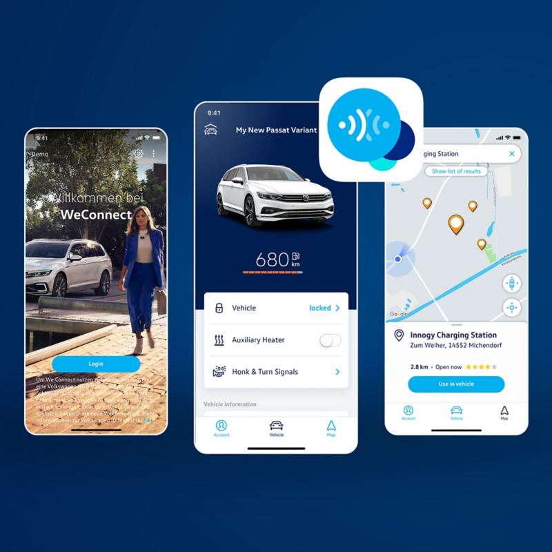 Screengrabs of the We Connect app on mobile phones