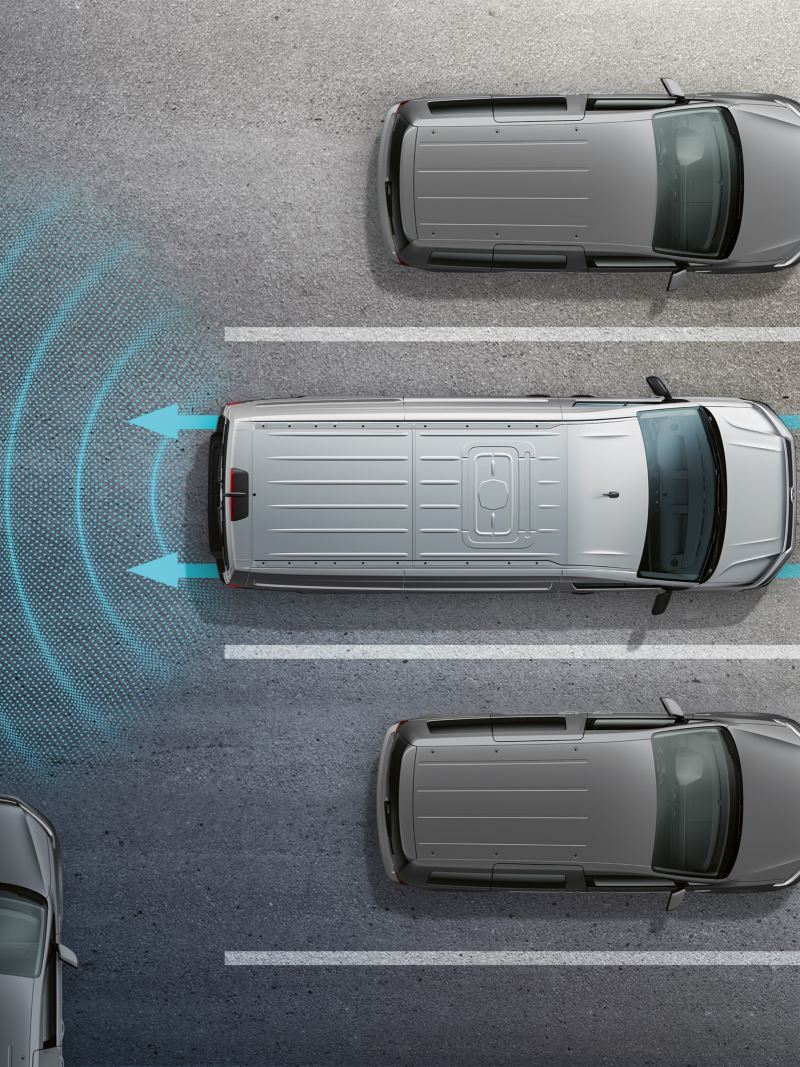 Bird's eye view of a driver assistance system's operating principle.