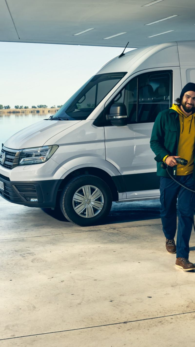 e-crafter blanc en charge volkswagen véhicules utilitaires