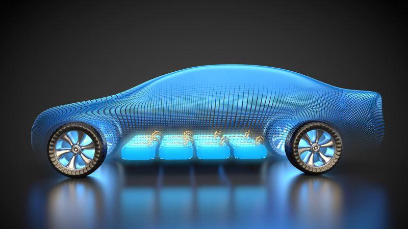 Der Akku eines Elektroautos befindet sich im Boden des Fahrzeugs