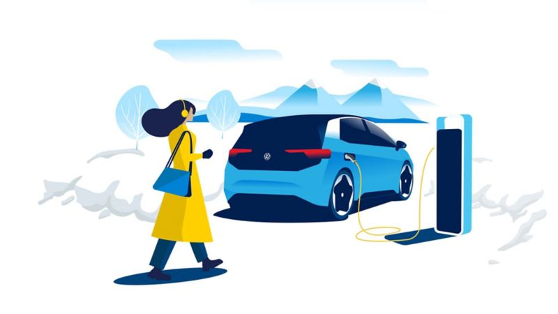 A person walks towards a charging VW id3 standing in a snowy mountain landscape