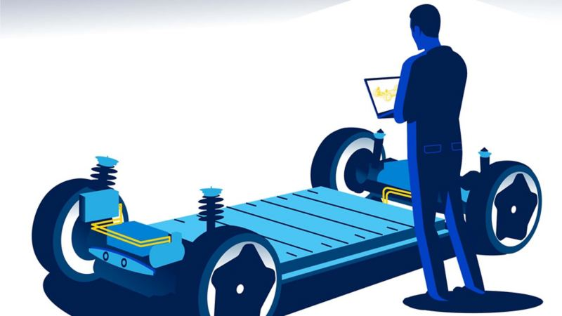 Illustration of a person inspecting the battery of an electric VW