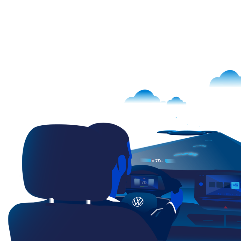 An illustration of a person driving a VW ID model with AR head-up display activated