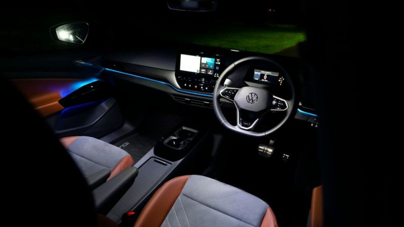 The interior of a VW ID.4 at night