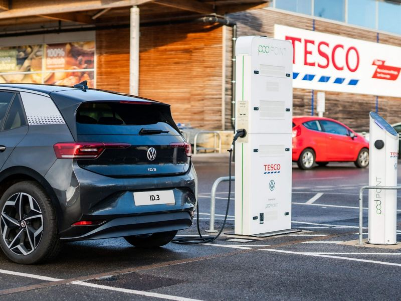 A Volkswagen ID.3 electric car parked at a Tesco  store charging point
