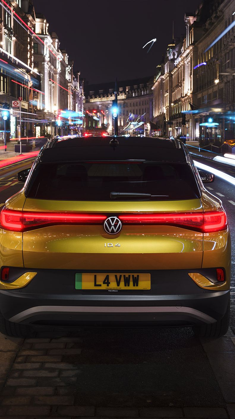 Time lapse image of the Volkswagen ID.4 parked in the city at night