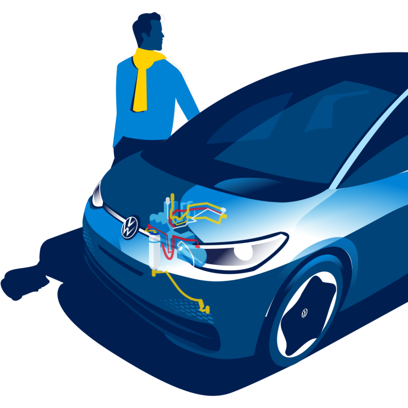 Volkswagen ID.3 with illustrated heat pump and a man standing next to the car
