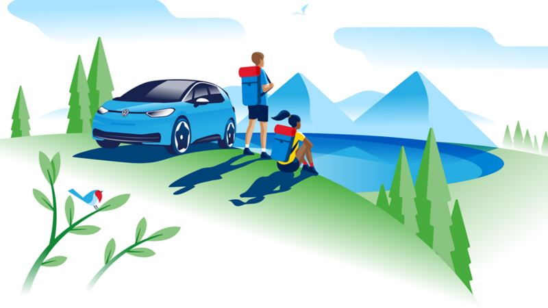 Illustration of an ID.3 parked besides a lake with a young couple taking in the view over the lake and the mountain range beyond