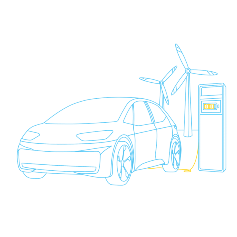 Illustration of an ID.3 charging with green power with a charging station and wind farm in the background