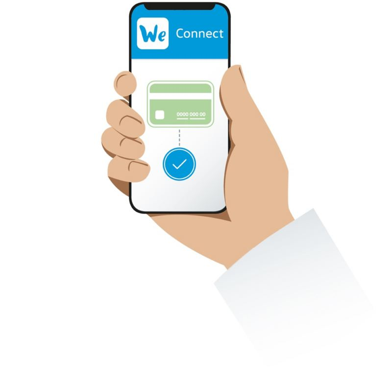 Illustration of a payment via a smartphone using the We Charge app