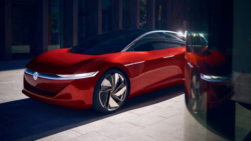 The pure electric concept cars ID. Vizzion parked in the city