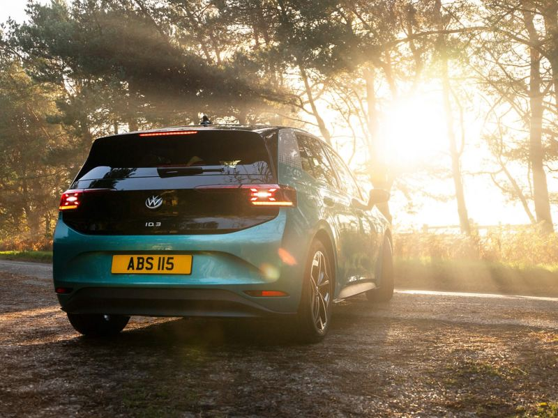 The Volkswagen ID.3 with the sun rising