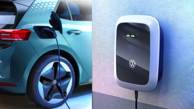 Elektromobil wird an einer Wallbox von Volkswagen geladen