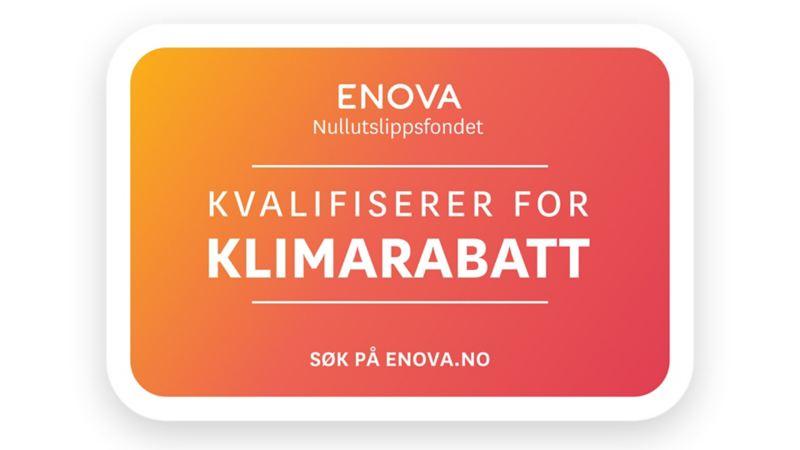 Enova plakat som informerer om at kjøp av el varebil kvalifiserer til støtte i form av en klimarabatt