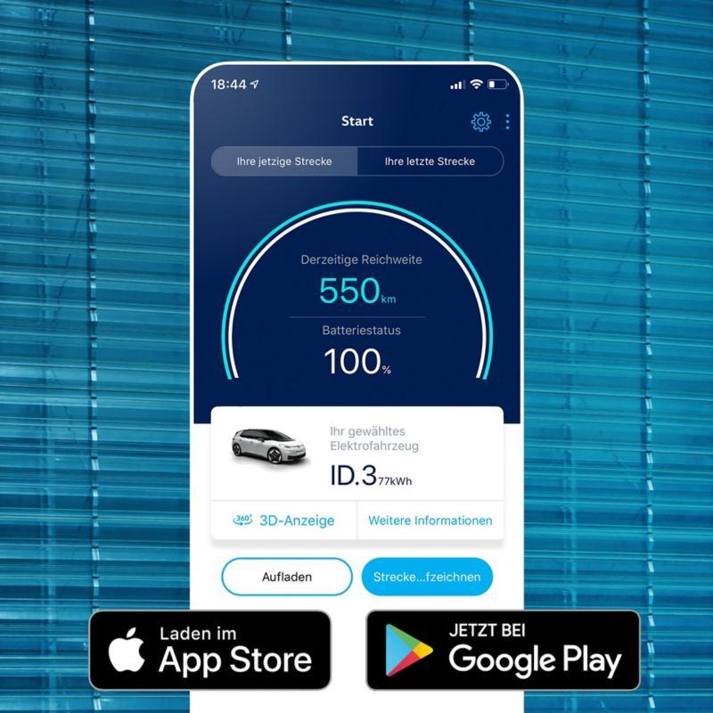 EV Check App auf Handy Display, zeigt Reichweite des Volkswagen ID.3