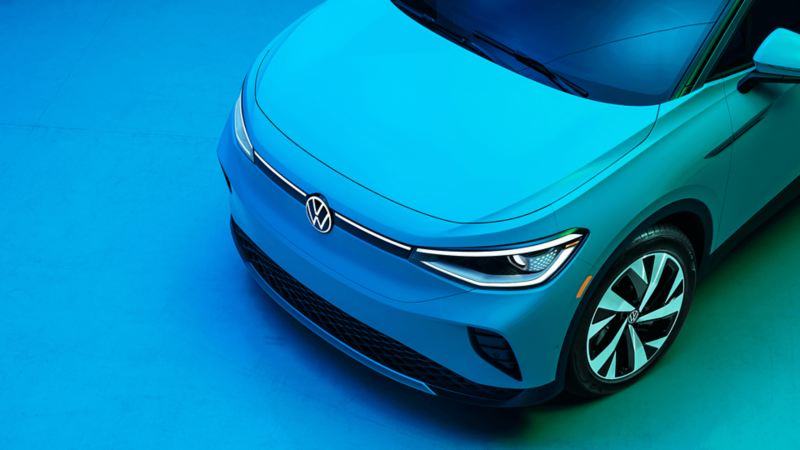 A stylish image of a blue Volkswagen