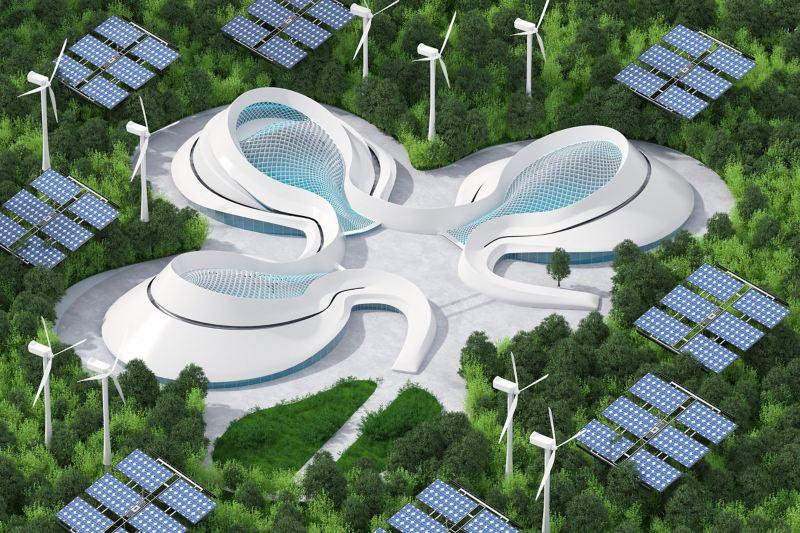 Futuristische Stadt mit Solar- und Windkraftanlagen