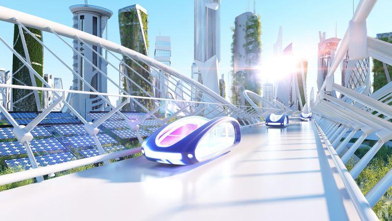 Abbildung einer futuristischen Stadt mit autonomen Fahrzeugen
