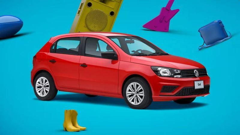 Gol 2020 de Volkswagen el auto compacto en color rojo tornado disponible a precio accessible