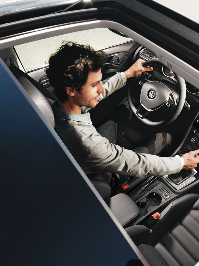 Panoramic sunroof shown above the Golf