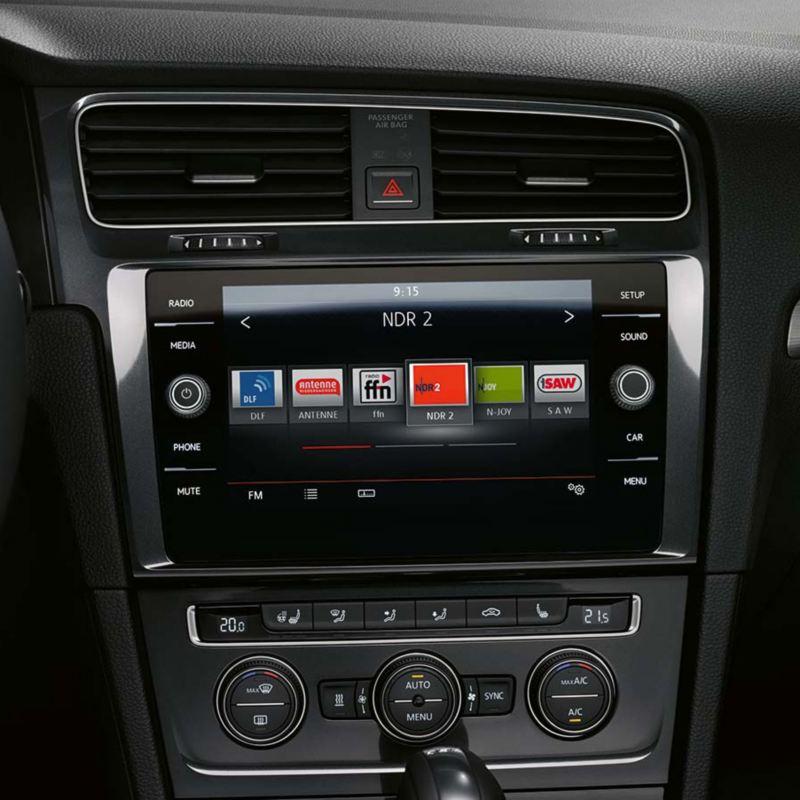 The Volkswagen Golf's infotainment system