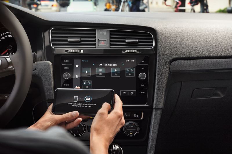 VW App-connect featured on the touch screen inside the Volkswagen Golf