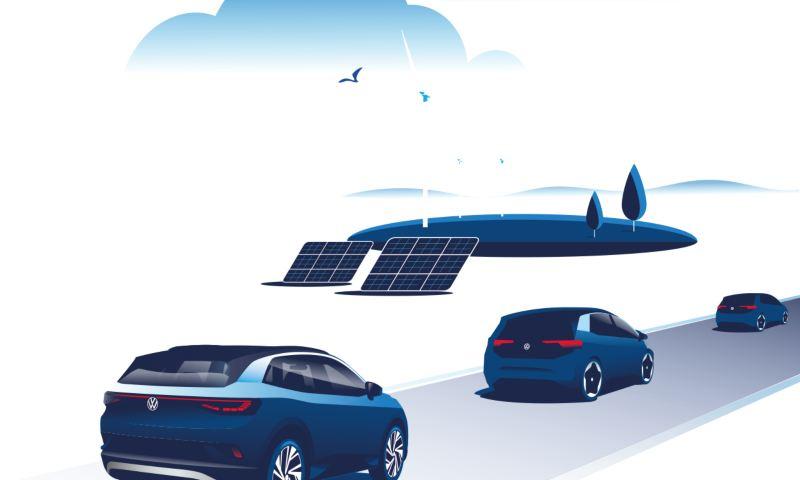 Illustrazione grafica di diversi modelli della famiglia Volkswagen ID. che percorrono una strada. Sullo sfondo alcuni pannelli solari e alcune pale eoliche.