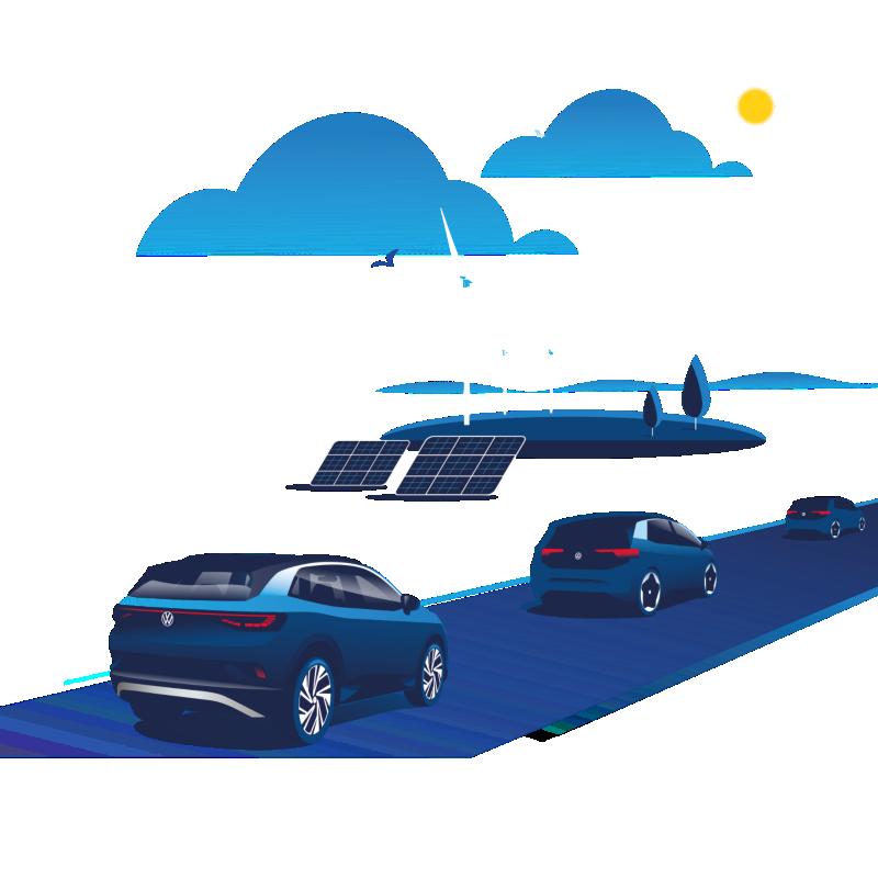 Illustrazione grafica di diversi modelli della famiglia Volkswagen ID. di che percorrono una strada. Sullo sfondo alcuni pannelli solari e alcune pale eoliche.