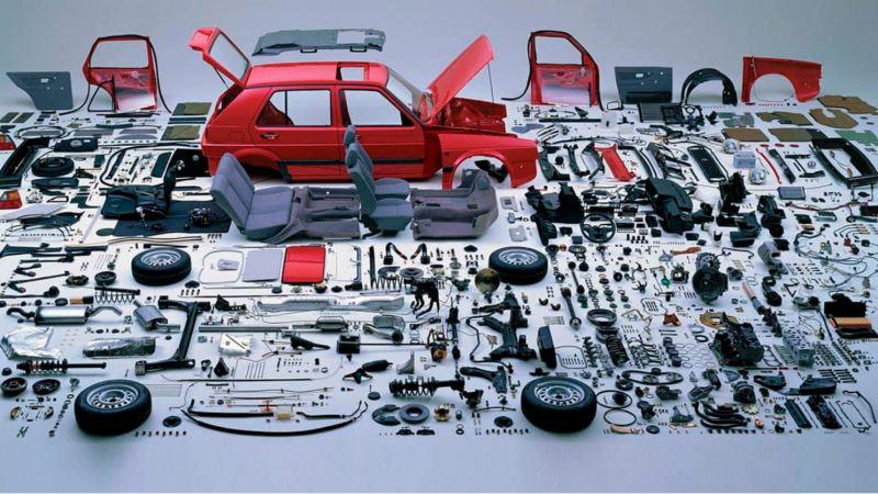 Golg MK2 Volkswagen - Auto deportivo desmontado en todas sus piezas