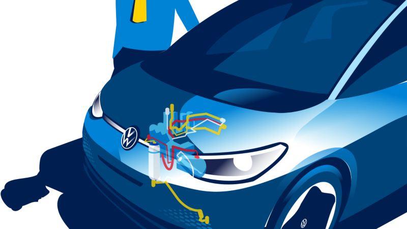 Illustrasjon: Volkswagen VW ID.3 elbil med aktiv varmepumpe