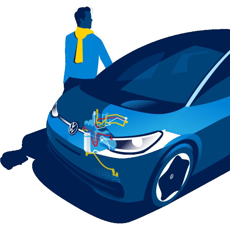 La Volkswagen ID.3 con la pompa di calore illustrata schematicamente