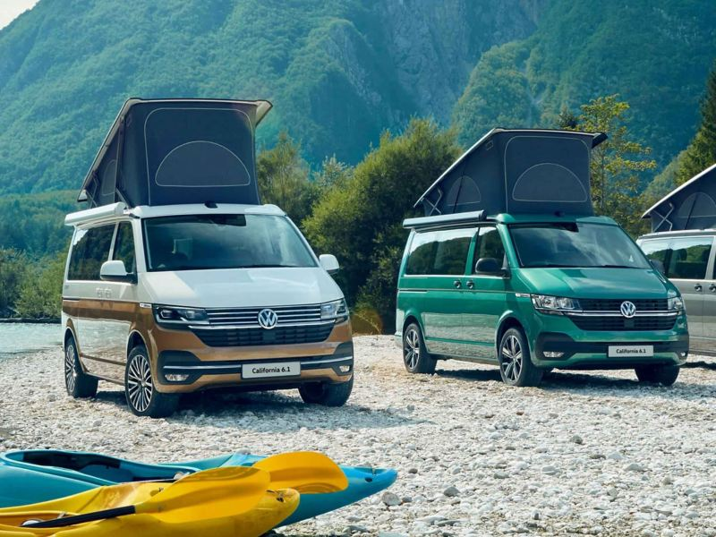 Two Volkswagen California 6.1s on a beach