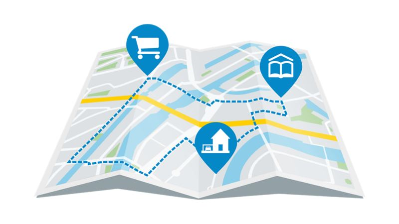 Street map that shows a route from home to the supermarket and to school.