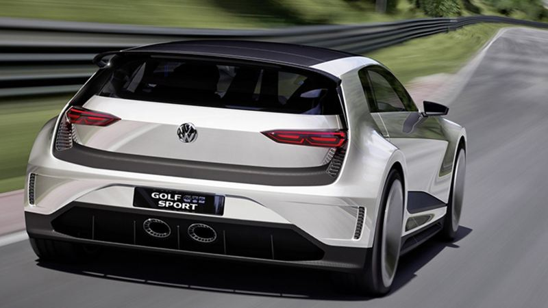 A back shot of the Golf GTE Sport concept car on a racetrack