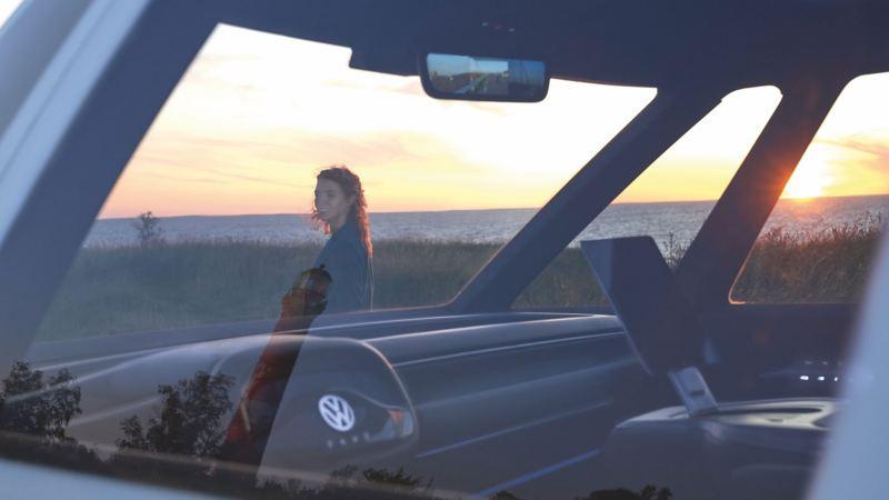 Bildet viser førerhuset i Volkswagen ID. Buzz Cargo elvarebil