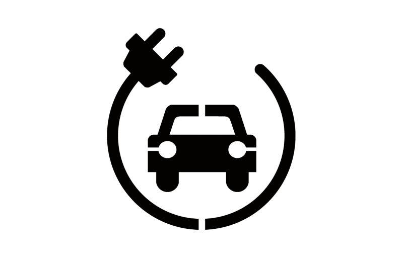 Icon eines Autos, um das ein Stromkabel führt