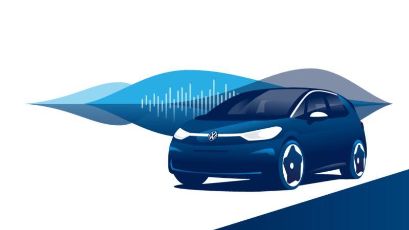 Une Volkswagen ID.3 et la représentation d'une piste audio.