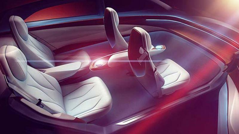 Interior de auto eléctrico autónomo I.D. Vizzion de Volkswagen