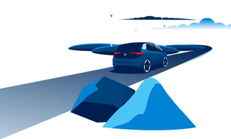 Illustrazione di una Volkswagen ID.3, in primo piano alcune materie prime