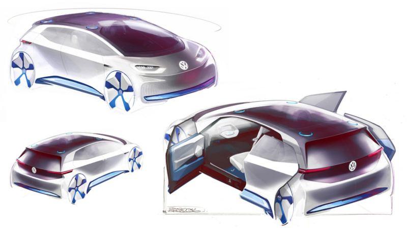 Schizzo dei disegni tecnici del prototipo di Volkswagen ID.3 ideato da Klaus  Zyciora Bischoff.